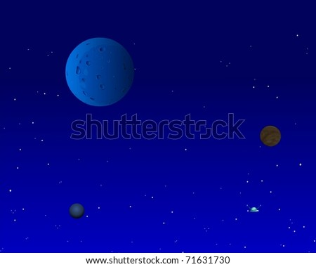 Moon in darkness on a blue background - stock photo