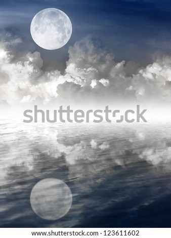 moon in night sky and water reflection - stock photo