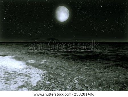 "moon in the n the night sky  ""Elements of this image furnished by NASA"""