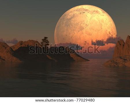 Moon island lake illustration with a lone tree. - stock photo