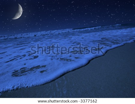 Moon light harmony on tropical beach - stock photo
