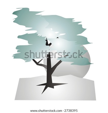 moon-light tree - stock photo