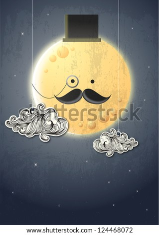 moon man illustration - stock photo