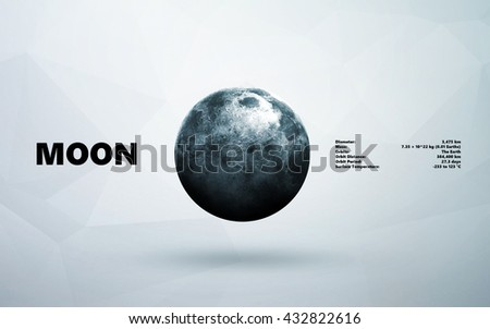 Moon. Minimalistic style set of planets in the solar system. Elements of this image furnished by NASA - stock photo