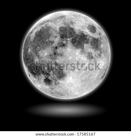 moon Model with black background and shadow - stock photo