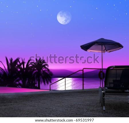 Moon night on beach of Greece, luxurious resort - stock photo
