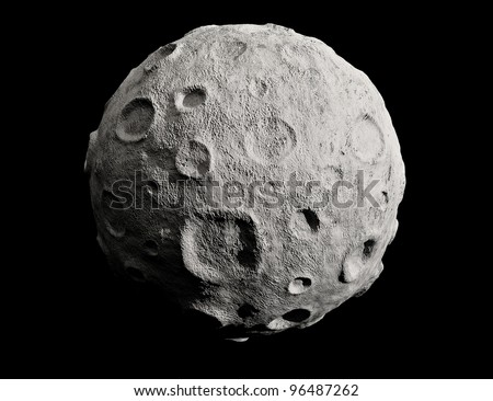 Moon on a black background. Lunar craters and bumps. 3D image of the full moon. Isolated. - stock photo