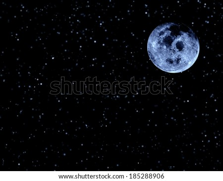 Moon on night sky and stars. Elements of this image furnished by NASA. - stock photo