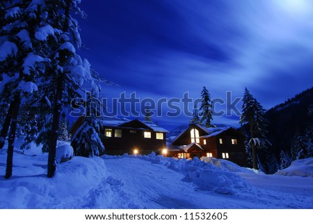 Moon over Lake Kachess cabin - stock photo