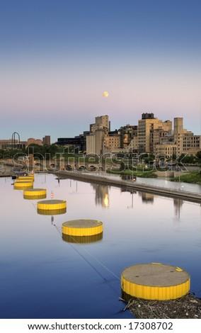 Moon over St Anthony Falls Lock & Dam - Minneapolis, MN - HDR (High Dynamic Range) image - stock photo