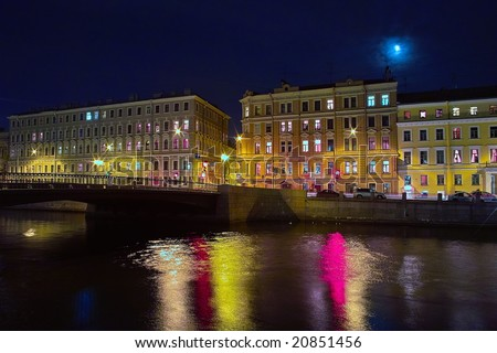 Moon over the old houses in Saint Petersburg