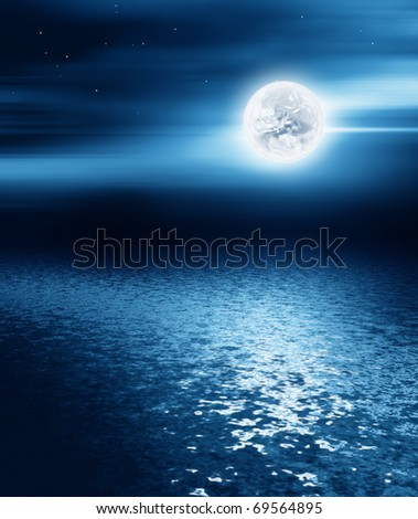 moon over the sea - night landscape - stock photo