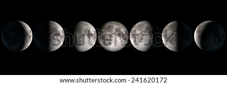 Moon phases, elements of this image are provided by NASA - stock photo