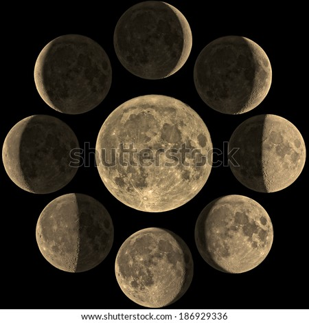 Moon phases mosaic from young to old Moon on a black clipping background. My astro-photography work through a telescope.  - stock photo
