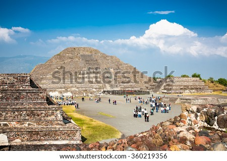 Moon piramid in Teothuacan, Mexico, Latin America. - stock photo