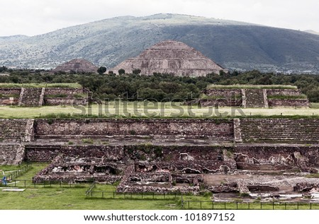 Moon Pyramids archaeological dig in Teotihuacan - Mexico - stock photo