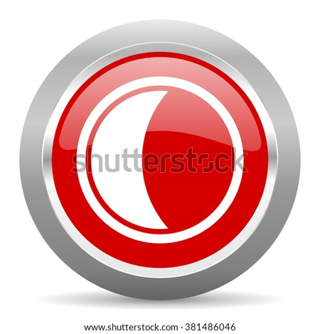 moon red chrome web circle glossy icon