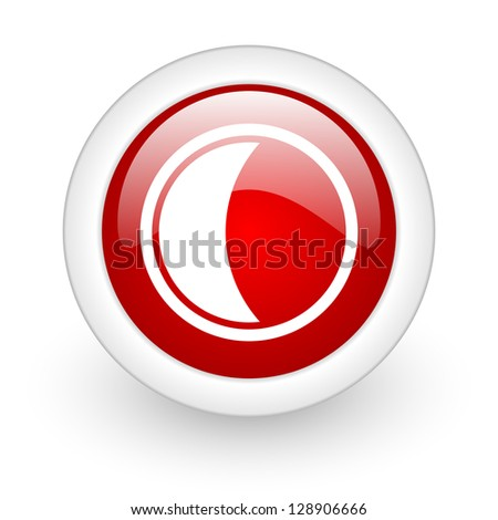 moon red circle glossy web icon on white background