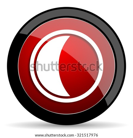 moon red circle glossy web icon on white background, round button for internet and mobile app