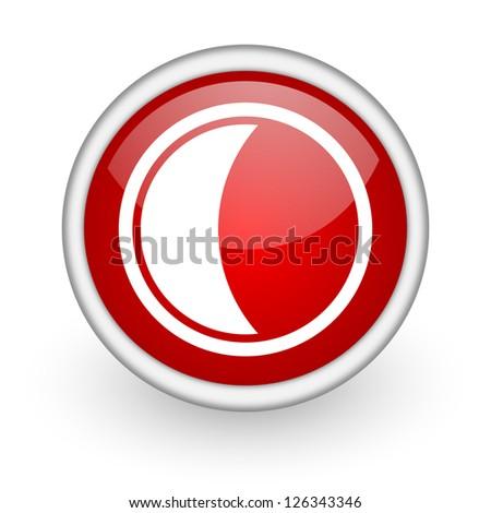 moon red circle web icon on white background