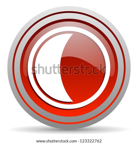 moon red glossy icon on white background