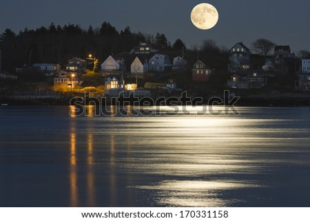 Moon Reflection on Kennebec River in Georgetown Island Maine.