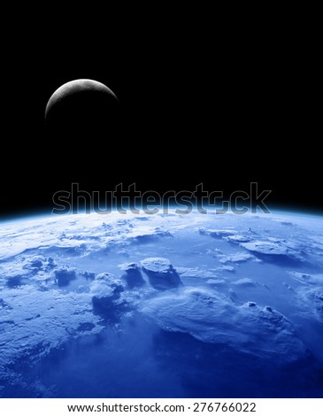 Moon rising behind the Earth's atmosphere. No stars. Elements of this image furnished by NASA. - stock photo