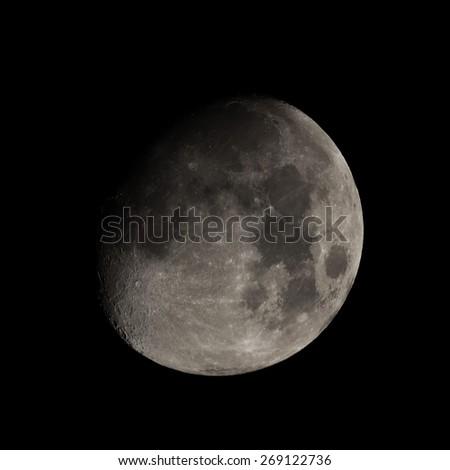 Moon seen with telescope - stock photo