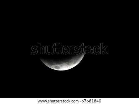 moon, total Lunar eclipse as seen from Utila, Honduras . December 2010 - stock photo