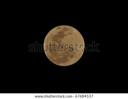 moon,total lunar eclipse seen from Utila, Honduras - stock photo