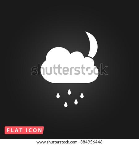 Moon White flat icon on dark background. Simple illustration pictogram - stock photo