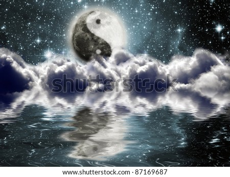 Moon with a sign of yin and yang in the clouds - stock photo