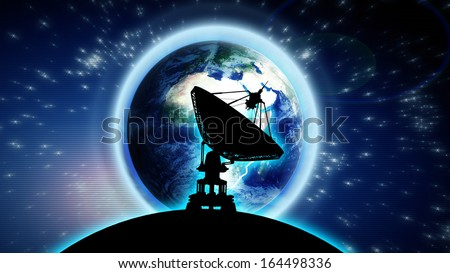 Moon with big satellite dishes antenna (Doppler radar) Earth Blue Marble picture courtesy of NASA