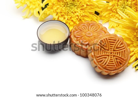 Mooncake and tea,food and drink for Chinese mid autumn festival. - stock photo