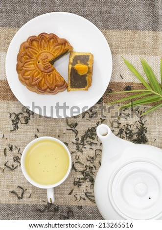 Mooncake and tea, Vietnamese and Chinese mid autumn festival food.( Banh Trung Thu) - stock photo