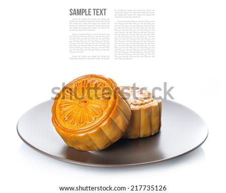 Mooncake, Chinese Mid-autumn festival dessert - stock photo