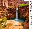 Mooney falls, Havasupai Indian Reservation - stock photo