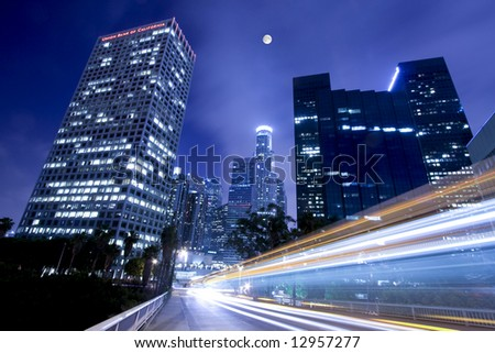 Moonlight over downtown Los Angeles - stock photo