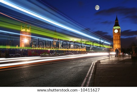 Moonlight over London and Big Ben - stock photo