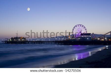 Moonlight over Los Angeles beach - stock photo