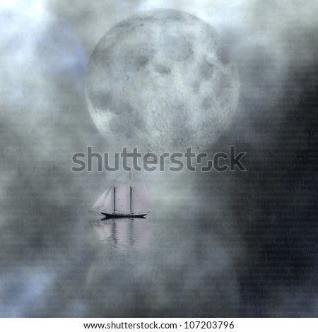 Moonlight Sail - stock photo