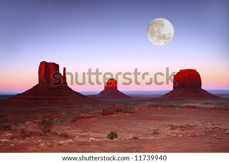 Moonlit Landscape in Monument Valley, Navajo Nation, Arizona USA - stock photo
