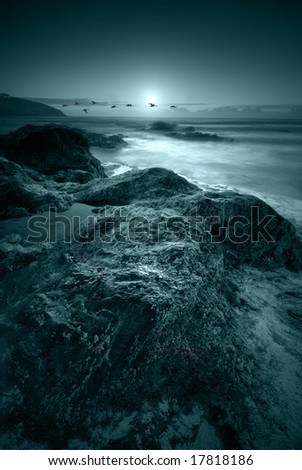 Moonlit ocean - stock photo