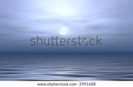Moonlit ocean - stock photo