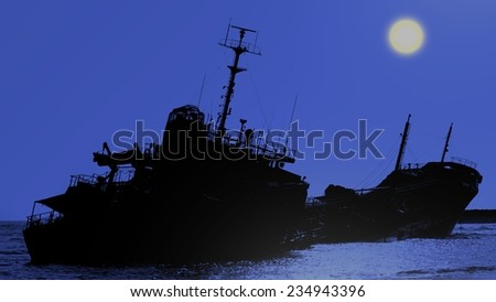 Moonlit scene of a ship that has run aground in shallow waters   - stock photo