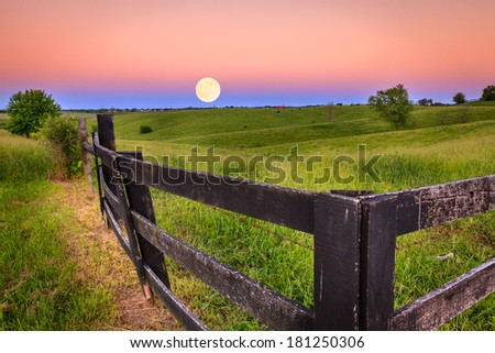 Moonrise in Kentucky - stock photo