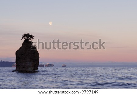 moonset with siwash rock, stanley park