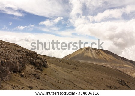 Moor. Panoramic view of the volcano and the Andes. National Natural Park snow. Province of Caldas. Colombia - stock photo