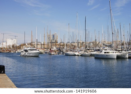 Moored boat in the harbour at Barcelona. Catalonia. Spain
