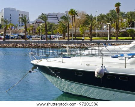 Moored yachts and a new promenade in Eilat - popular resort city in Israel - stock photo